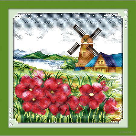 "Алмазная вышивка-мозаика ""Мельница"" (350х350 мм) — фото, картинка"