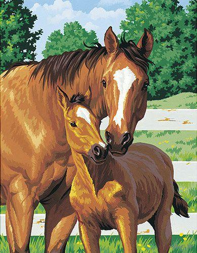 "Картина по номерам ""Лошадь и жеребенок"" (360х280 мм; арт. DMS-91100)"