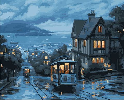 "Картина по номерам ""Ночной трамвай"" (400х500 мм) — фото, картинка"