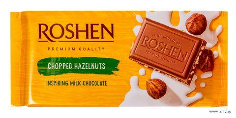 """Шоколад молочный """"Roshen. С дроблеными лесными орехами"""" (90 г) — фото, картинка"""
