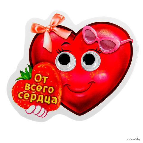 """Магнит пластмассовый """"От всего сердца"""" (6,5х5,5 см)"""