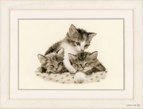 "Вышивка крестом ""Котята с мячом"" (230x200 мм) — фото, картинка"