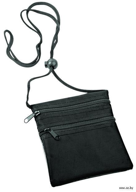 Нагрудный кошелек с 2-мя отделениями на молнии и прозрачным карманом (черный) — фото, картинка