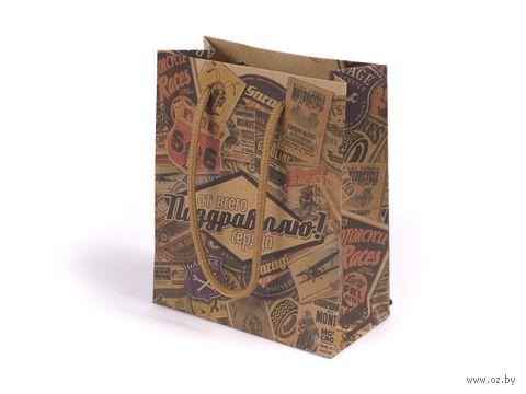 """Пакет бумажный подарочный """"Поздравляю. Ретро"""" (11х14х6 см) — фото, картинка"""