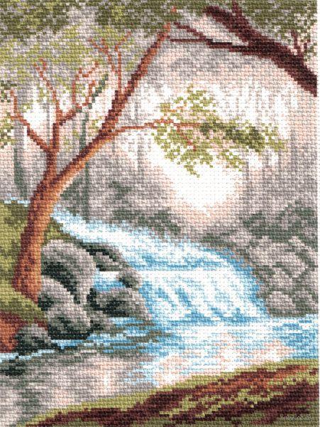 """Канва с нанесенным рисунком """"Утро в лесу"""""""