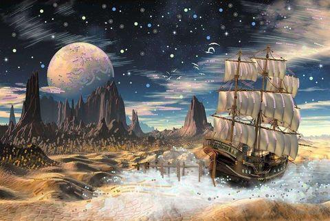 """Вышивка бисером """"Обратная сторона Луны"""" (400х280 мм) — фото, картинка"""
