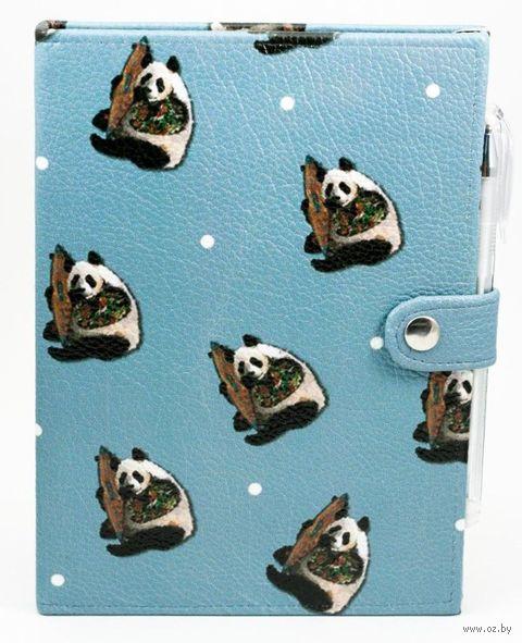 """Блокнот """"22 панды"""" (А5; черная бумага) — фото, картинка"""
