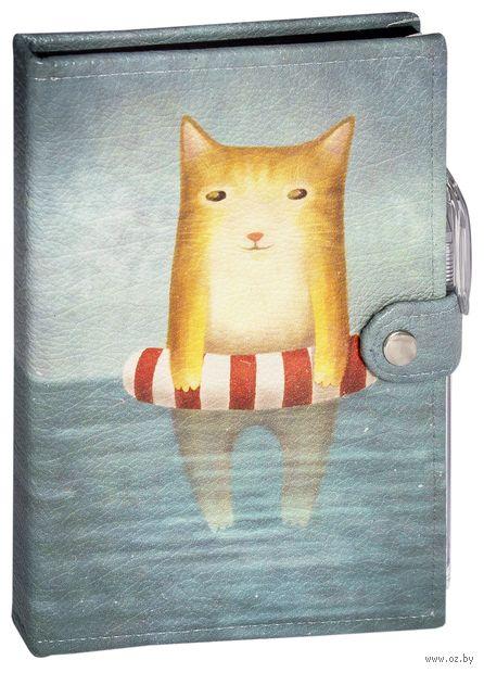"""Блокнот """"Котик в море"""" (А5; черная бумага)"""