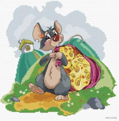 """Вышивка крестом """"Мышка с сыром"""" (250х250 мм) — фото, картинка"""