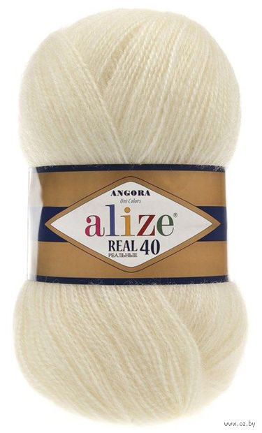 """Пряжа """"ALIZE. Angora Real 40 №01"""" (100 г; 480 м; кремовый) — фото, картинка"""