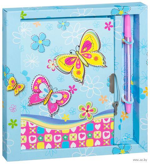 """Блокнот с замком и ручкой """"Бабочки"""" (13,5x17,5 см; арт. DV-4368; в ассортименте) — фото, картинка"""