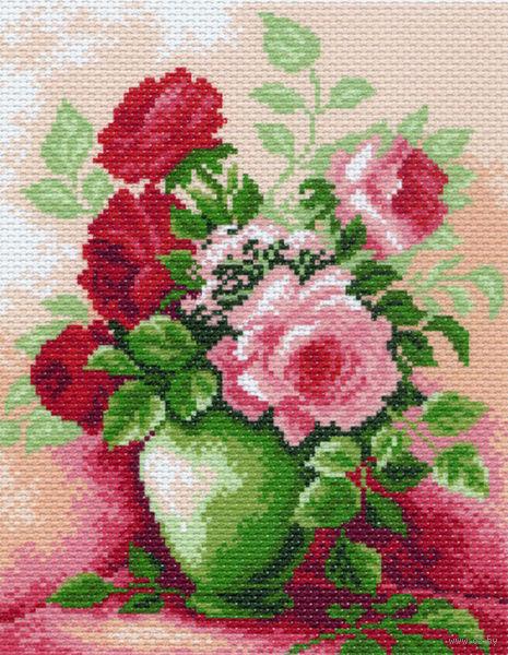 """Канва с нанесенным рисунком """"Розы в вазе"""""""