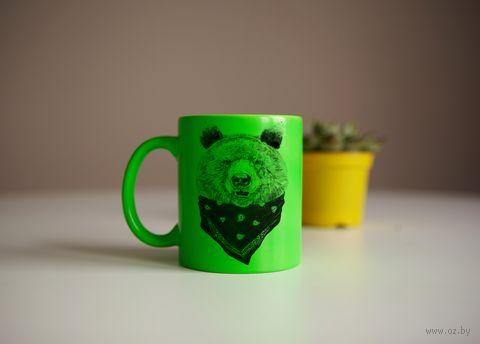"""Кружка """"Медведь"""" (салатовая) — фото, картинка"""