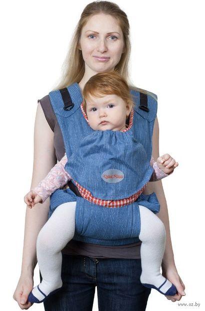 """Слинг-рюкзак """"БебиМобиль Хип"""" (джинсовый с красным) — фото, картинка"""