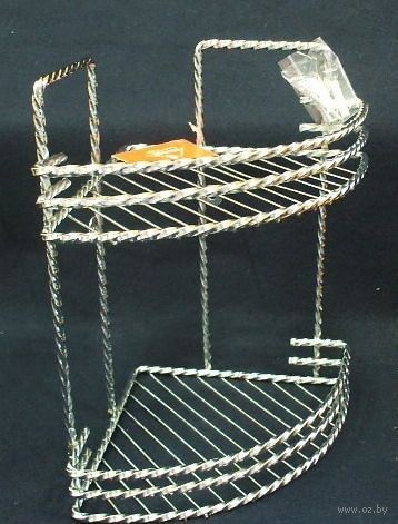 Полка для ванной угловая металлическая 2-ярусная (290х264х195 мм)