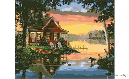 "Картина по номерам ""Дом у озера"" (400x500 мм) — фото, картинка"