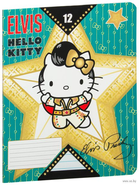 "Тетрадь в линейку ""Hello Kitty Elvis"" 12 листов"