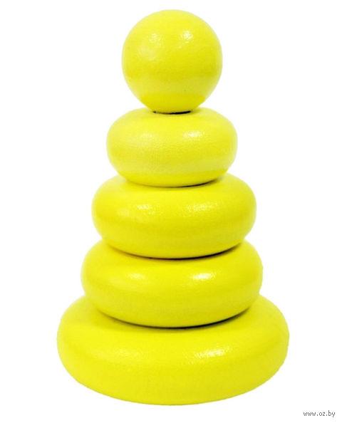 """Пирамидка желтая """"Колечки"""" (5 элементов) — фото, картинка"""