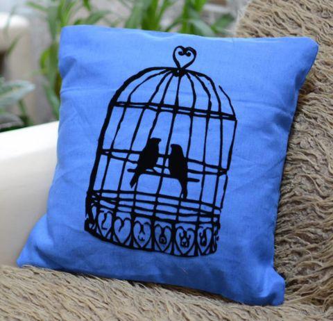 "Подушка ""Птички"" (40x40 см; голубая) — фото, картинка"