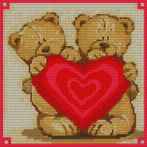 """Алмазная вышивка-мозаика """"Мишки с сердцем"""""""