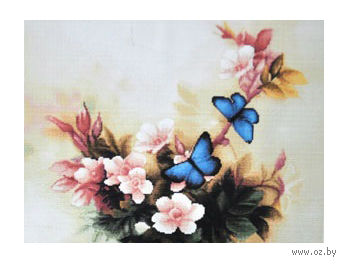 "Алмазная вышивка-мозаика ""Синие бабочки"" (350х250 мм) — фото, картинка"