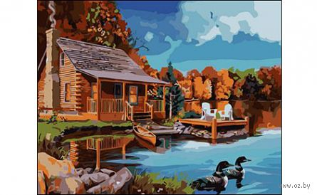 "Картина по номерам ""Домик у озера"" (400x500 мм; арт. E328) — фото, картинка"