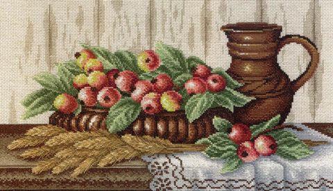 """Вышивка крестом """"Натюрморт с райскими яблоками"""" (420x240 мм) — фото, картинка"""