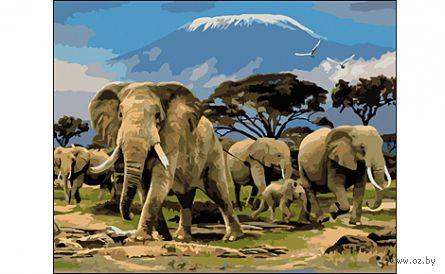 "Картина по номерам ""Семья слонов"" (400x500 мм) — фото, картинка"