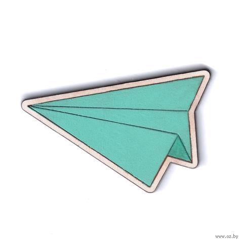 """Значок деревянный """"Самолетик"""" (мятный) — фото, картинка"""