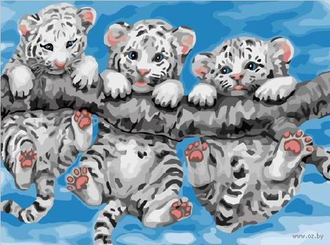 """Картина по номерам """"Тигрята на ветке"""" (300х400 мм) — фото, картинка"""