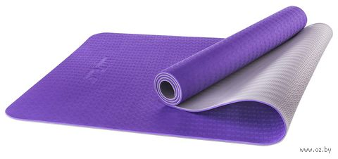 Коврик для йоги FM-201 (173x61x0,5 см; фиолетовый/серый) — фото, картинка