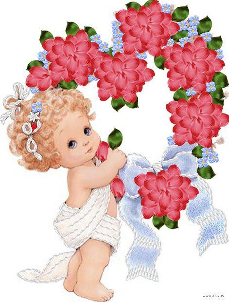 "Вышивка лентами ""Ангелочек с сердцем"" (250х190 мм) — фото, картинка"