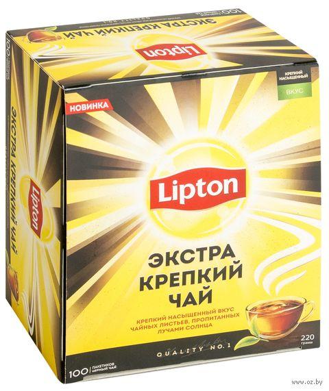 """Чай черный """"Lipton. Экстра крепкий"""" (100 пакетиков) — фото, картинка"""