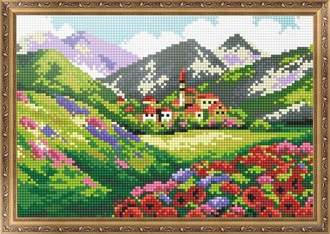 """Алмазная вышивка-мозаика """"Город в горах"""" (350х300 мм) — фото, картинка"""