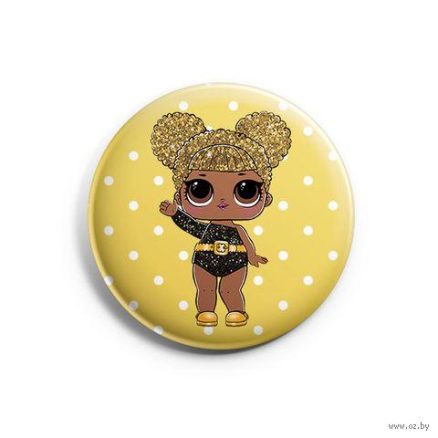 "Значок маленький ""LOL. Queen Bee Glitter"" (арт. 843) — фото, картинка"