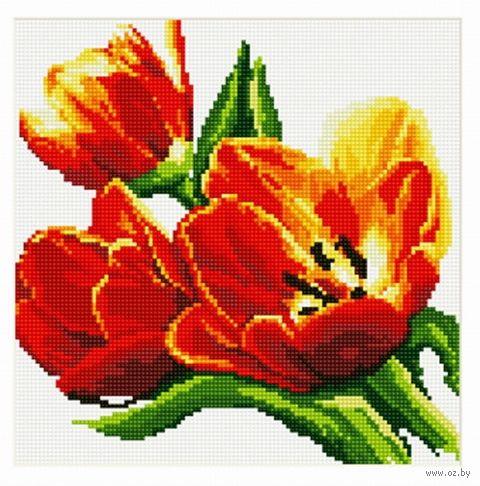 "Алмазная вышивка-мозаика ""Тюльпаны"" (300x300 мм; арт.7713898) — фото, картинка"