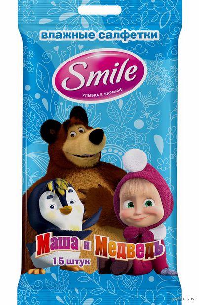 """Влажные салфетки детские """"Маша и Медведь"""" (15 шт.) — фото, картинка"""