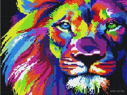 """Алмазная вышивка-мозаика """"Радужный лев"""" (300х400 мм) — фото, картинка"""