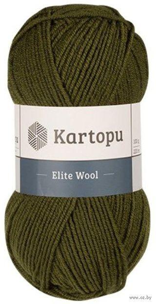 "Пряжа ""KARTOPU. Elite Wool №K410"" (100 г; 220 м; оливковый) — фото, картинка"