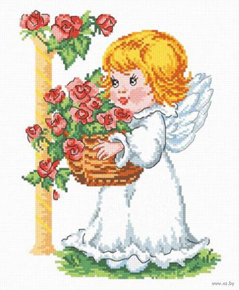 """Вышивка крестом """"Ангелочек с корзиной роз"""""""