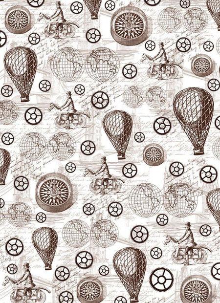 """Калька с принтом """"Стимпанк, воздушные шары и компас"""" (А4) — фото, картинка"""