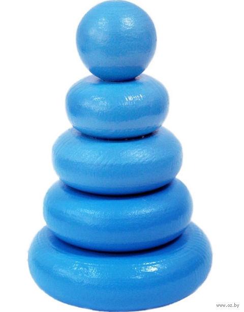 """Пирамидка синяя """"Колечки"""" (5 элементов) — фото, картинка"""