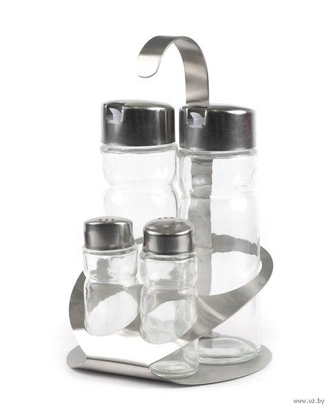 Набор для специй, стекло/металл, 4 предмета на металлической подставке (12,5 см): 2 баночки для специй (30 мл), 2 бутылочки для уксуса и масла (180 мл)