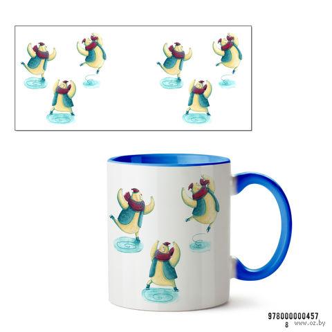 """Кружка """"Кот на коньках"""" (457, голубая)"""