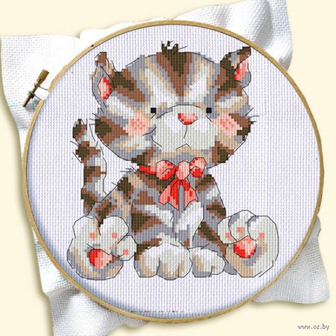 """Вышивка крестом """"Котенок с бантиком"""" (120x160 мм) — фото, картинка"""