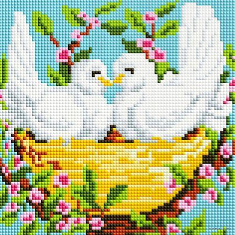 "Алмазная вышивка-мозаика ""Пара голубей"" (200х200 мм) — фото, картинка"