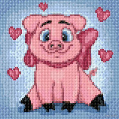 """Алмазная вышивка-мозаика """"Влюбленная свинка"""" (200х200 мм) — фото, картинка"""