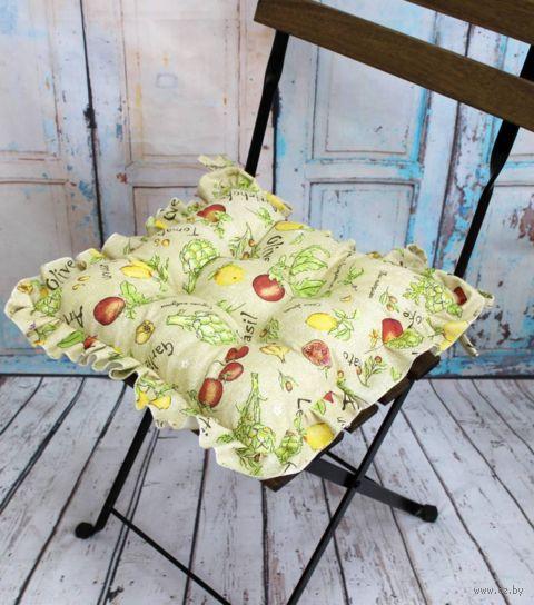 "Подушка на стул ""Ажур"" (35х35 см; зелёная) — фото, картинка"