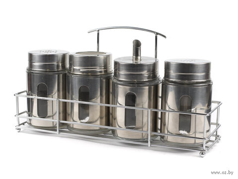 Набор баночек для специй, стекло/металл (4 шт, 250 мл) на металлической подставке (30*9 см)