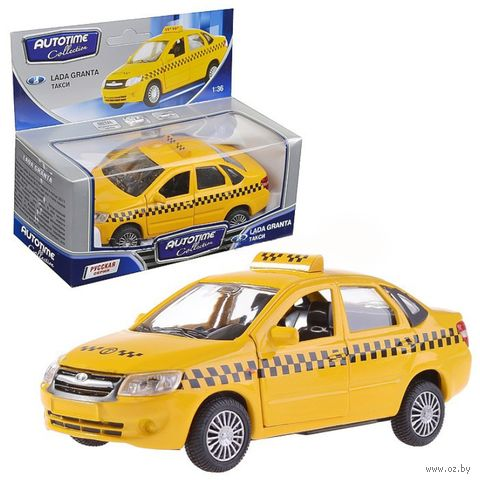 """Модель машины инерционная """"Lada Granta. Такси"""" (масштаб: 1/36) — фото, картинка"""